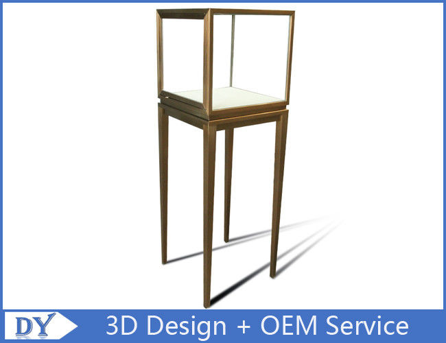 Manufacturer oem top grade fully assemble  brush stainless steel glass pedestal display stand with lights fornecedor