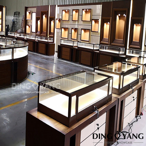 Retail Shop Rose Gold OEM Jewelry Showcase Display